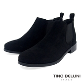 Tino Bellini 簡約質感布料低筒切爾西靴 _ 黑 FS8502