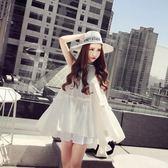 洋裝 夏裝超仙娃娃衫白色背心裙高腰寬鬆百褶裙A字連身裙度假沙灘裙女 聖誕節禮物大優惠
