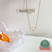 冷淡風氣質簡約鎖骨鍊設計感幾何珍珠項鍊女潮【福喜行】