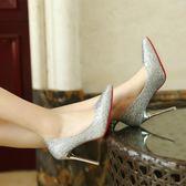 歐美10cm亮片尖頭高跟鞋女春細跟中跟淺口性感銀色職業工作鞋單鞋