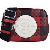 【南紡購物中心】COACH 壓印LOGO蘇格蘭紋印花斜背包(迷你/黑X紅)