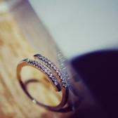 戒指 925純銀 鑲鑽-個性百搭生日情人節禮物女開口戒73dv8[時尚巴黎]