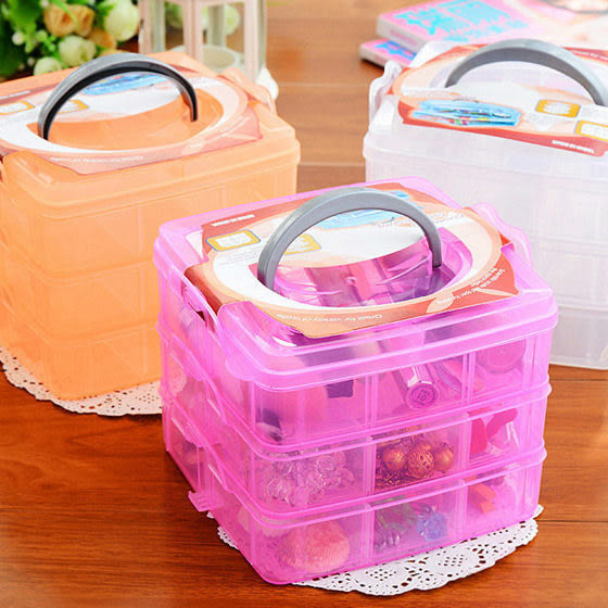 三層可拆格塑膠收納盒透明收納盒塑膠首飾盒 (不挑色)