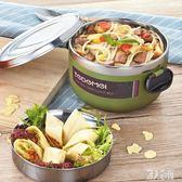 韓式304鋼便攜大容量圓形不銹鋼盒兩層學生便當盒分隔餐盒 DJ12592『麗人雅苑』