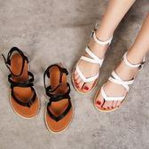 涼鞋女夏平底羅馬復古chic涼鞋軟妹平底夾趾