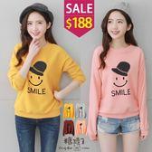 糖罐子*原價350 特價188*帽子笑臉英字印圖刷毛上衣→現貨【E47992】