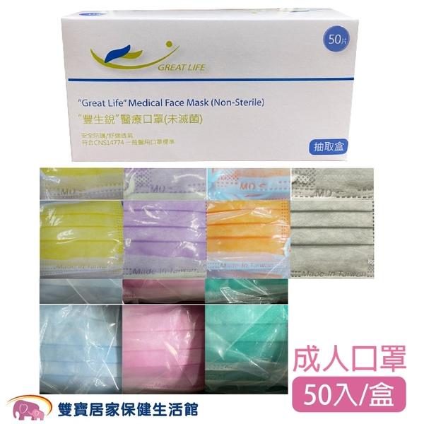 【雙鋼印】豐生銳 成人醫用口罩 50入/盒 醫療口罩 台灣製 符合CNS14774標準