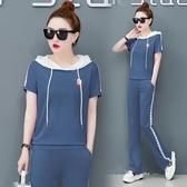 時尚運動套裝新品 天新款 韓版寬鬆跑步服夏季 休閒短袖兩件套女潮 超值價
