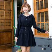 東京著衣-氣質女孩寬領腰帶修身洋裝-S.M(180240)