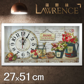 【Lawrence羅蘭絲】玫瑰之家木框(玻璃面板)復古時鐘(27x51cm) 鄉村歐美 壁掛掛鐘 居家佈置 裝飾畫