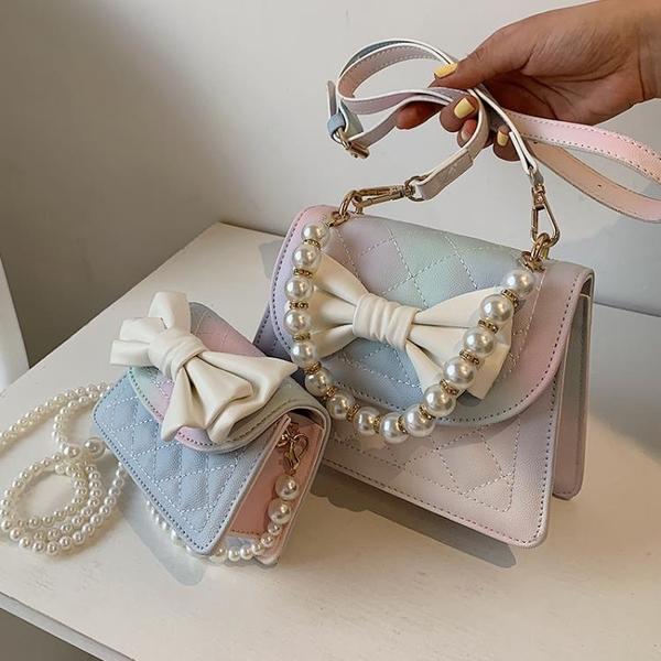 珍珠鏈條包 今年流行小包包女2021新款潮時尚百搭單肩包夏天高級感珍珠斜挎包 ww