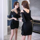 VK旗艦店 韓國名媛風性感V領包臀裙氣質修身顯瘦吊帶短袖洋裝