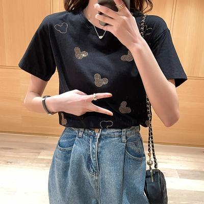 韓版T恤 短袖上衣棉t恤女寬松歐貨歐洲站洋氣重工燙鉆短袖上衣夏裝T305紅粉佳人