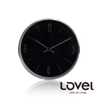 里和Riho LOVEL 20cm深遂黑簡約時尚風鋁框壁鐘/掛鐘(C723-BK) 台灣製造,高品質機芯