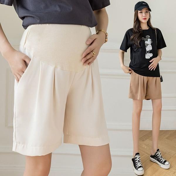 漂亮小媽咪 韓系 實拍 孕婦 托腹褲【P1249】冰絲 雪紡 薄款 西裝 五分褲  孕婦短褲