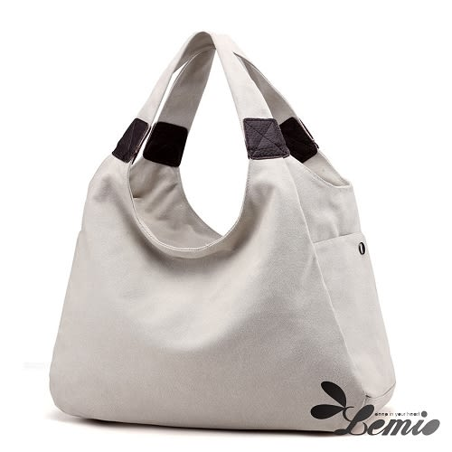 【Lemio】百搭帆布 簡約風 托特梯形包(學院白)