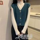 馬甲 毛衣背心開衫女短款秋裝新款韓版寬鬆學生無袖坎肩針織衫馬甲外套 17店