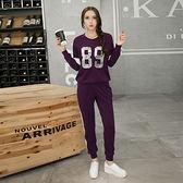 ★韓美姬★中大尺碼~顯瘦蝙蝠袖針織長袖運動套裝(XL)