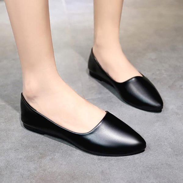 工作鞋女黑色平底女鞋職業上班鞋舒適軟底防滑平跟淺口單鞋小皮鞋 聖誕節交換禮物