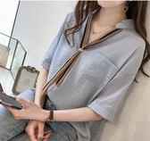 現貨 2XL韓系中大尺碼M-4XL襯衫上衣25299/夏裝女裝新款時尚條紋領帶襯衫女短袖上衣寬鬆百搭半袖襯