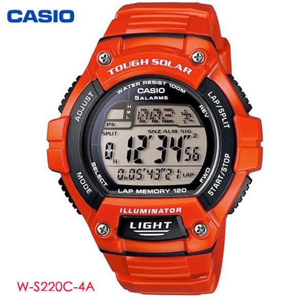 【名人鐘錶】CASIO 漆面亮紅太陽能多功能電子錶・W-S220C-4A・公司貨・軍用錶・大數字錶・學生錶