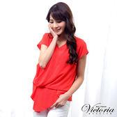 Victoria V領褶子垂墜設計短袖T-女-橘紅