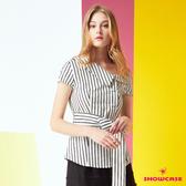 【SHOWCASE】條紋斜露肩領腰綁帶造型襯衫(白)