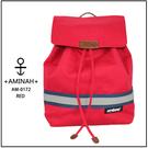 潮牌AMINAH~【am-0172】水手海軍風格 線條束口 帆布 後背包  紅色