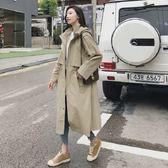 梨卡 - 韓國大牌感高品質挺版寬鬆長版卡其色顯瘦縮腰抽繩立領西裝防風外套風衣長大衣AR003