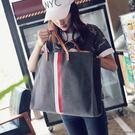 手提包 - 正韓新款女包簡約帆布包 單肩大包 大容量手提包 斜挎包包【快速出貨八折搶購】
