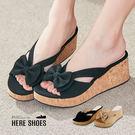 [Here Shoes]MIT台灣製蝴蝶結舒適防水台涼拖鞋11CM楔形厚底高跟鞋拖鞋─KD833