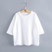 夏季女童薄款T恤中大童白色打底衫女孩七分袖