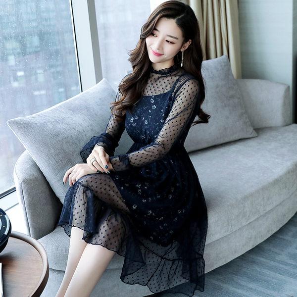 VK旗艦店 韓系名媛氣質寬松裙子蕾絲套裝長袖裙裝