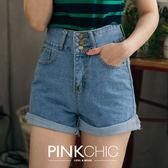 短褲 三釦捲邊牛仔丹寧短褲 - PINK CHIC - 2277107
