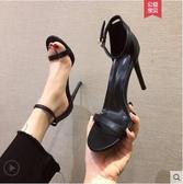 高跟涼鞋性感一字扣帶涼鞋夏季百搭高跟鞋細跟黑色時裝女鞋仙女風特賣
