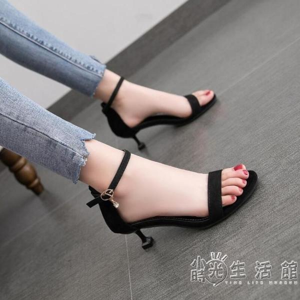 網紅5cm低跟涼鞋2020新款露趾一字扣百搭法式少女細跟高跟鞋仙女 中秋節全館免運