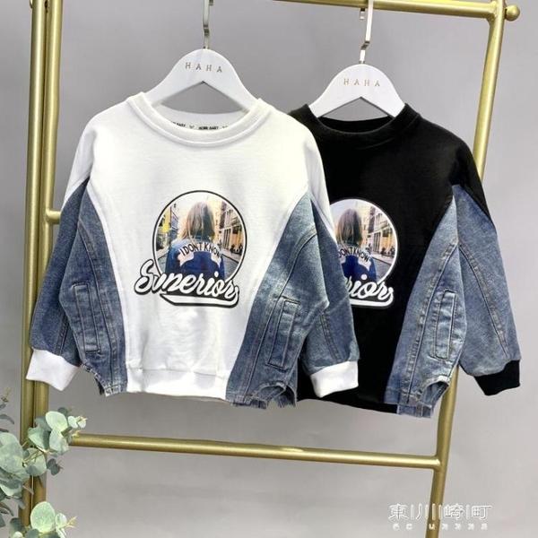 男童長袖-春秋款新款洋氣童裝兒童拼接牛仔外套寶寶寬鬆上衣 東川崎町