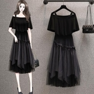 兩件式上衣半身裙中大尺碼L-4XL一字領短款T卹 網紗多層蓬蓬半身裙大碼套裝4F048A-472 405.胖