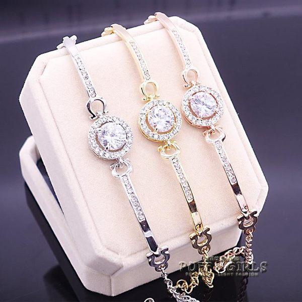 s925純銀韓版女士圓形鋯石手鍊百搭手鐲銀首飾 飾品手錶搭配