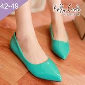 大尺碼女鞋-凱莉密碼-時尚簡約款糖果色漆皮尖頭平底鞋0.25cm(41-48偏窄)【HB223】綠色