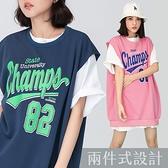 PUFII-套裝 素面長版T恤+英字寬版T恤套裝- 0504 現+預 春【CP20261】