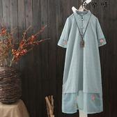 中國風棉麻連身裙女短袖