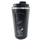 小禮堂 史努比 不鏽鋼隨行杯 隨身瓶 咖啡杯 保溫杯 510ml (黑 太空人) 4712977-46638