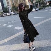 連衣裙子女2019新款秋冬裝高冷系氣質成熟裙法式復古收腰長袖長裙
