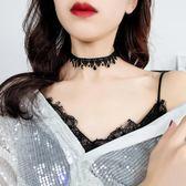 鎖骨鍊 性感黑色蕾絲頸帶頸鍊脖子飾品正韓短版項鍊choker項圈鎖骨鍊女頸鍊