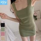 【V2956】shiny藍格子-美顯曲線. 修身包臀無袖背心針織連身裙