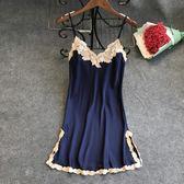 睡衣女夏天性感極度誘惑春秋吊帶睡裙冰絲綢家居服
