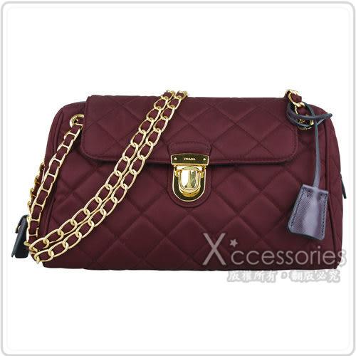 CHANEL展示品 經典康朋米黑羊皮卡片夾+PRADA 紫紅色尼龍銀鍊帶肩背包