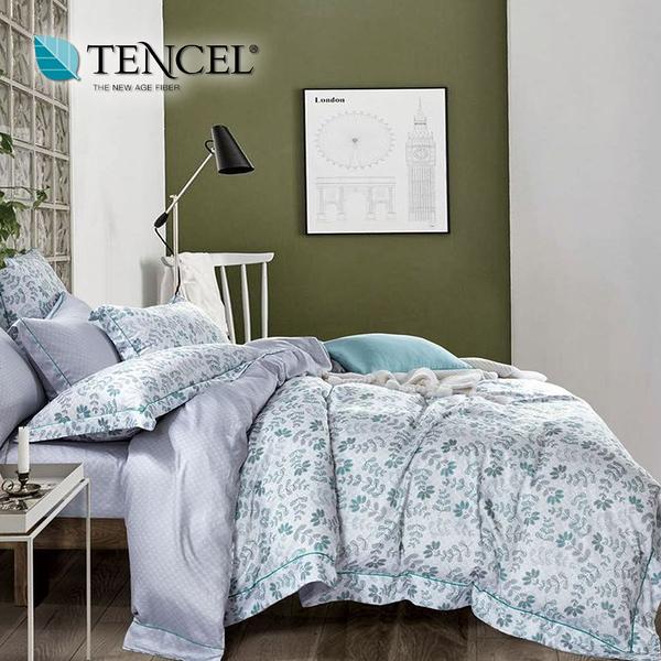 【貝淇小舖】TENCEL 頂級100%天絲《春意安然》加大雙人七件式床罩組加高35cm