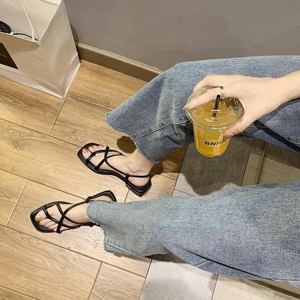 涼鞋女粗跟低跟羅馬女鞋
